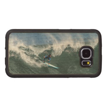 Surfer on Blue and White Surfboard Wood Phone Case