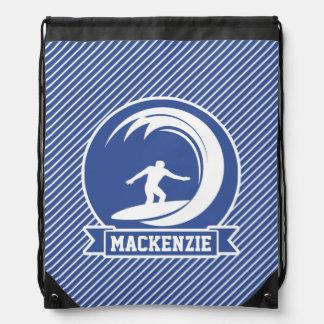 Surfer on Blue & White Stripes Drawstring Backpack