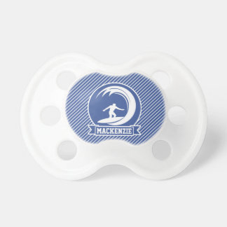 Surfer on Blue & White Stripes Pacifier
