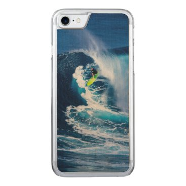Beach Themed Surfer on Green Surfboard Carved iPhone 7 Case