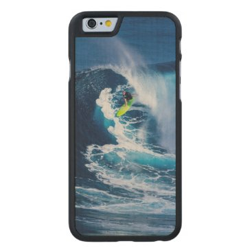 Beach Themed Surfer on Green Surfboard Carved Maple iPhone 6 Slim Case