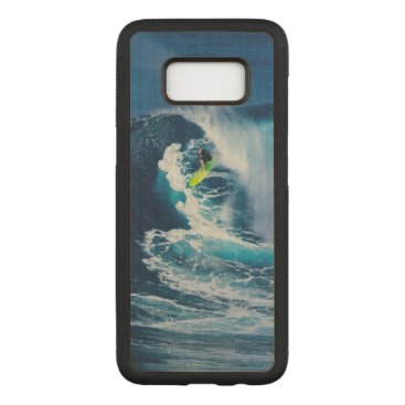 Beach Themed Surfer on Green Surfboard Carved Samsung Galaxy S8 Case