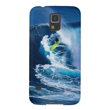 Beach Themed Surfer on Green Surfboard Case For Galaxy S5