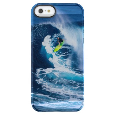 Beach Themed Surfer on Green Surfboard Clear iPhone SE/5/5s Case