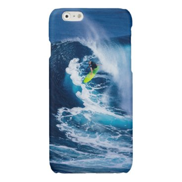 Beach Themed Surfer on Green Surfboard Glossy iPhone 6 Case