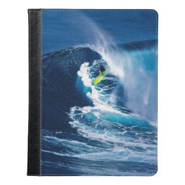 Beach Themed Surfer on Green Surfboard iPad Case