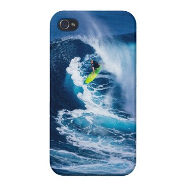 Beach Themed Surfer on Green Surfboard iPhone 4 Cases