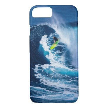 Beach Themed Surfer on Green Surfboard iPhone 7 Case