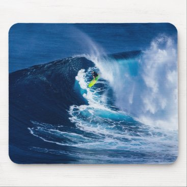 Surfer on Green Surfboard Mouse Pad