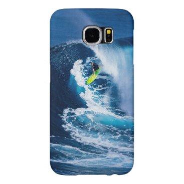 Beach Themed Surfer on Green Surfboard Samsung Galaxy S6 Case