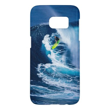 Beach Themed Surfer on Green Surfboard Samsung Galaxy S7 Case