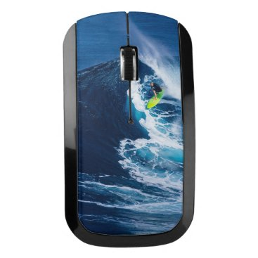 Beach Themed Surfer on Green Surfboard Wireless Mouse