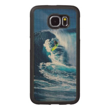Beach Themed Surfer on Green Surfboard Wood Phone Case