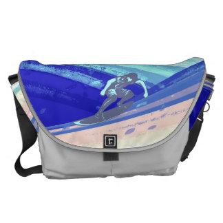 Surfer on Ocean Blue Background Courier Bag