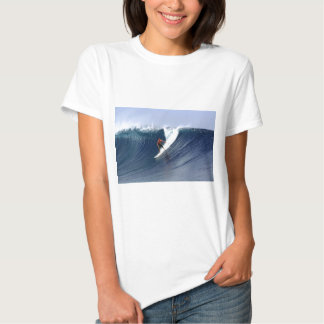 Surfer on wave surfing big blue tropical reef tee shirt