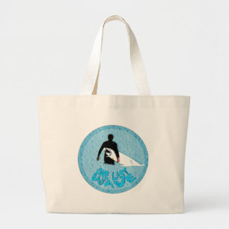 Surfer- One last wave... Large Tote Bag