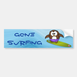 surfer owl bumper sticker