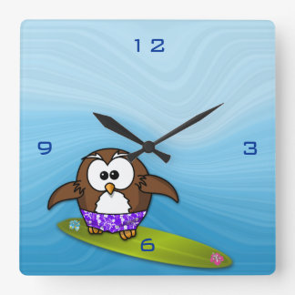 surfer owl square wall clock