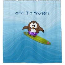 surfer owl - shower curtain