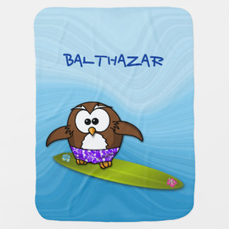 surfer owl stroller blankets