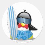 Surfer Penguin Classic Round Sticker
