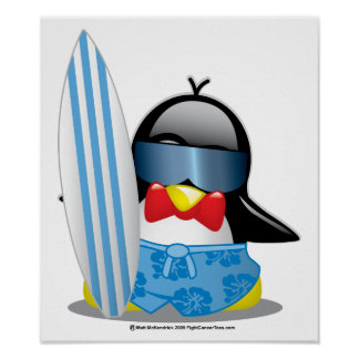 Surfer Penguin Poster