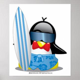 Surfer Penguin Posters