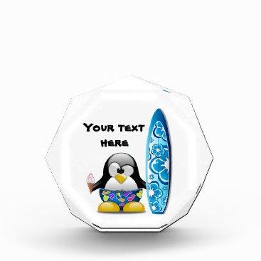 Beach Themed Surfer Penguin with Ice Cream Acrylic Award