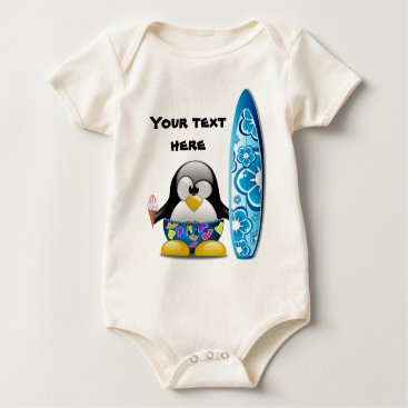 Beach Themed Surfer Penguin with Ice Cream Baby Bodysuit