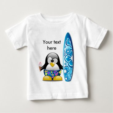 Beach Themed Surfer Penguin with Ice Cream Baby T-Shirt
