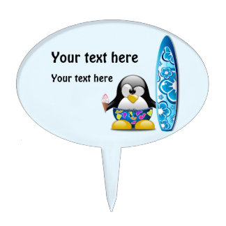 Surfer Penguin with Ice Cream Cake Topper