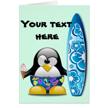Beach Themed Surfer Penguin with Ice Cream Card
