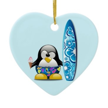 Beach Themed Surfer Penguin with Ice Cream Ceramic Ornament