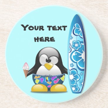 Beach Themed Surfer Penguin with Ice Cream Coaster
