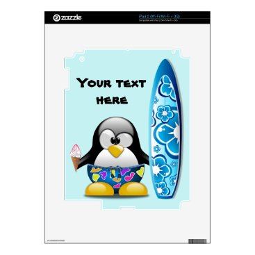 Beach Themed Surfer Penguin with Ice Cream iPad 2 Decal