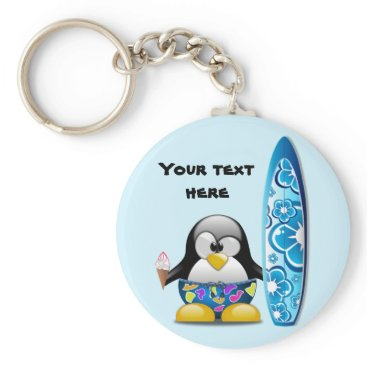 Beach Themed Surfer Penguin with Ice Cream Keychain