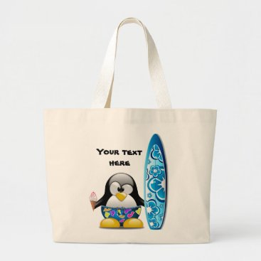 Beach Themed Surfer Penguin with Ice Cream Large Tote Bag