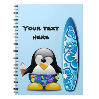 Surfer Penguin with Ice Cream Notebook