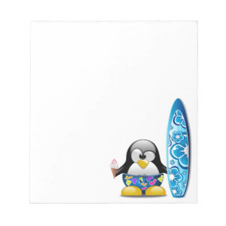 Surfer Penguin with Ice Cream Notepad