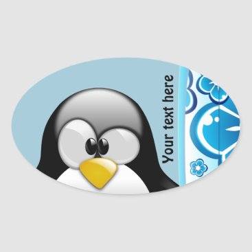 Beach Themed Surfer Penguin with Ice Cream Oval Sticker