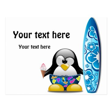 Beach Themed Surfer Penguin with Ice Cream Postcard