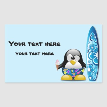 Beach Themed Surfer Penguin with Ice Cream Rectangular Sticker