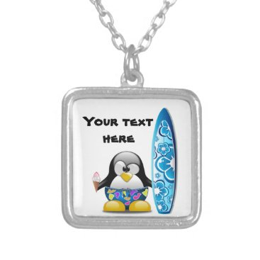 Beach Themed Surfer Penguin with Ice Cream Silver Plated Necklace