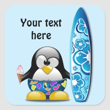 Beach Themed Surfer Penguin with Ice Cream Square Sticker