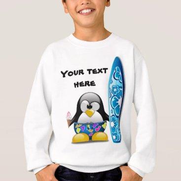Beach Themed Surfer Penguin with Ice Cream Sweatshirt