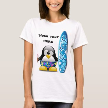 Beach Themed Surfer Penguin with Ice Cream T-Shirt