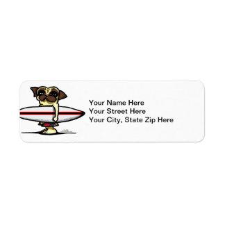 Surfer Pug Return Address Label