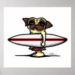 Surfer Pug Poster