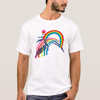 Surfer Rides a Radical Rainbow Wave T-Shirt