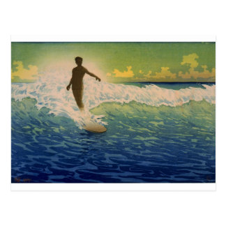 Surfer riding wave, Hawaii Postcard